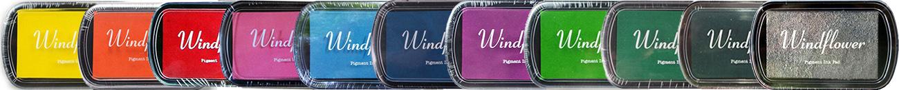 Nabízíme polštářky Windflower ve dvanácti různých barvách, kterými vytvoříte vysoce kvalitní otisky.