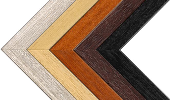 Obrázek s rohy všech nabízených dřevěných rámů pro foto obrazy na desce 5mm