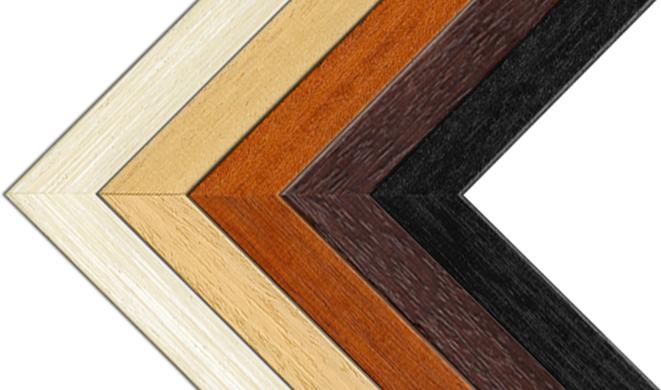 Obrázek s rohy všech nabízených dřevěných rámů pro foto obrazy na desce